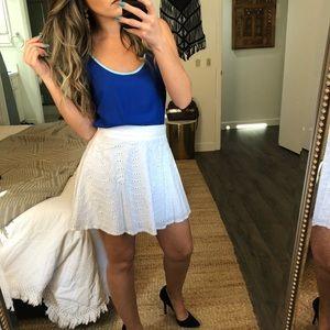 Eyelet A-line skirt